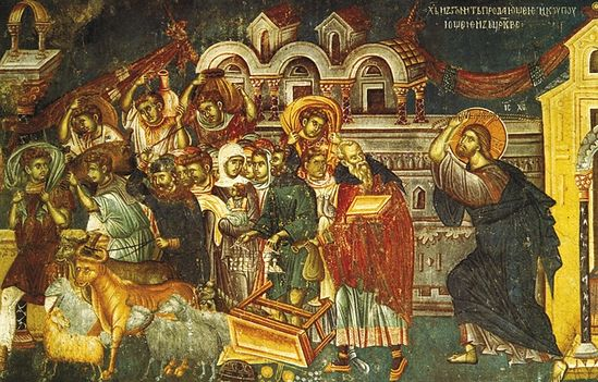 Истеривање трговаца из храма. Фреска у цркви Светог Никите у близини Скопља. 1483-84.г.