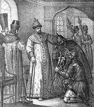 Царю Ивану IV вручают трофеи, взятые у Девлет-Гирея князем Воротынским после сражения при Молодях