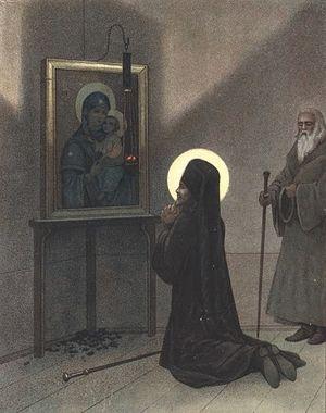 Моление свт. Иоасафа перед Песчанской иконой Божией Матери
