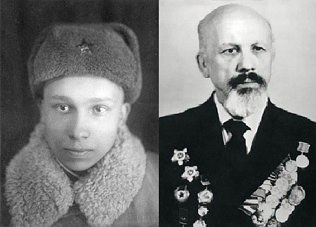 Г.А.Каледа на фронте (1942 год) и в 45-годовщину Победы (1990 год)