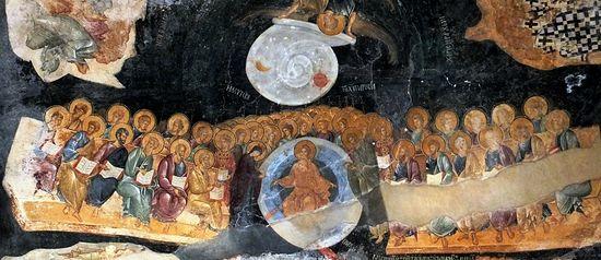 Второе Христово пришествие. Фреска в церкви Христа Спасителя в Полях. XIV в. Константинополь