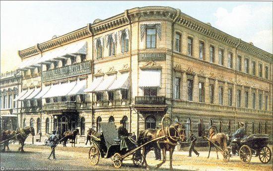 Гостиница «Билло» на углу Большой Лубянки и Варсонофьевского переулка