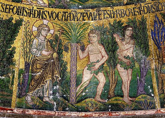 Адам и Ева прячутся от Бога. Венеция. Собор Святого Марка; XIII в.