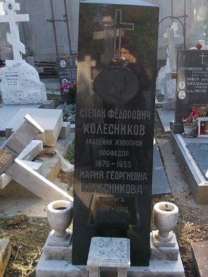 Могила Степана Колесникова и его жены Марии Геориевны на Новом кладбище в Белграде