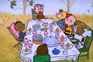 """Be thankful you didn't let Snoopy and Woodstock cater your dinner: A scene from the classic special, """"A Charlie Brown Thanksgiving."""""""