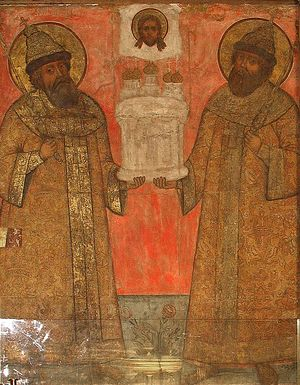 Фреска, изображающая царей-храмоздателей – Михаила Федоровича и Алексея Михайловича.