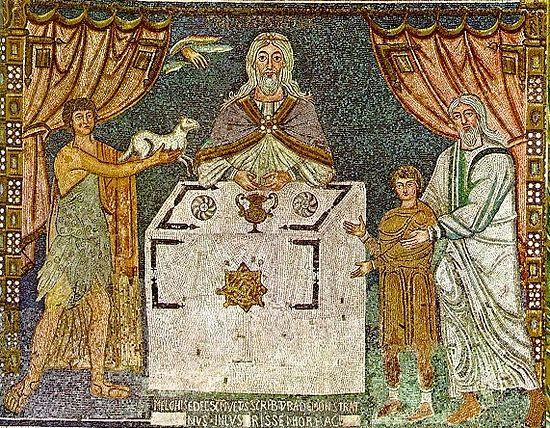 Ветхозаветные жертвоприношения. Мозаика в Сант-Аполлинаре ин Классе, VI в.