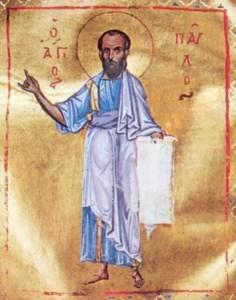 Апостол Павел. Миниатюра из Апостольских посланий, XIII - XIV в. Пергамент. Монастырь Дионисиат, Афон (Греция)