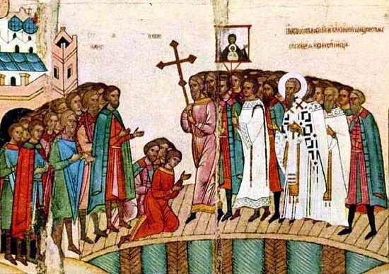 Икона Битва новгородцев с суздальцами, фрагмент