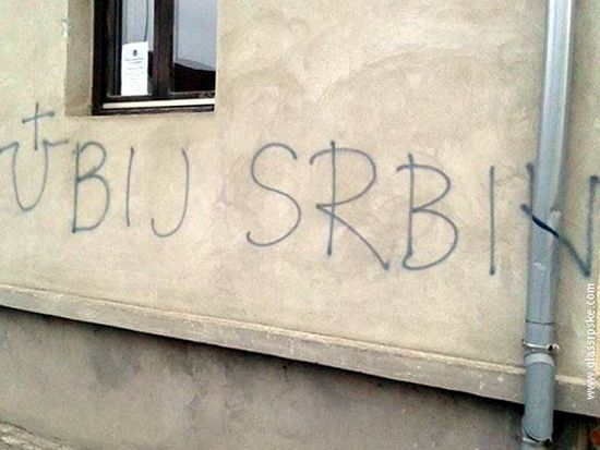 Croatia: 'Kill The Serb', Ustasha Graffiti On Serbian Orthodox Church. File photo.
