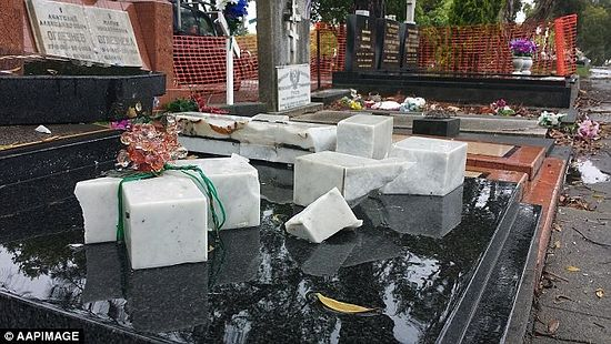 Graves and crosses destroyed after vandals entered the Sydney cemetery between 9pm on Tuesday and 6am on Wednesday and damaged 76 gravestones