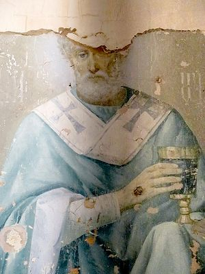 Fresco of St. Nicholas in the church of the penal colony on Ognenny Island.