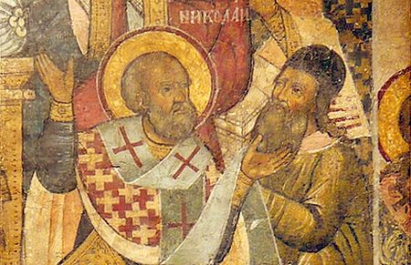 St. Nicholas slaps Arius on the face. Fragment of an icon, 17th c.