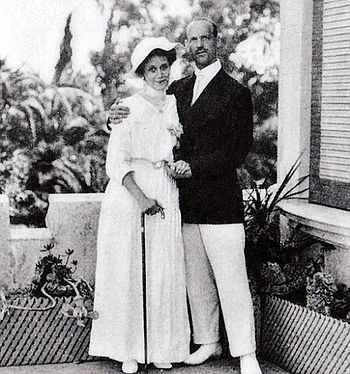 Michael Romanov and wife Natalya pictured in Cannes in 1913