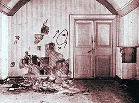 The room where Nicholas Romanov and his family were murdered by Bolshevik revolutionaries. The bullet marks can be seen on the wall