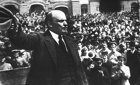 Lenin addressing soldiers in Red Square. It was apparently on his orders that Mikhail Romanov was killed thereby sealing the fate of Brian Johnson