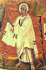 Saint Apostle Peter, baptistery mosaic, Ravenna (the 5th century)