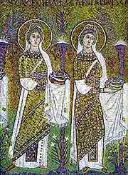 Procession of martyr women, mosaic of St. Apolinarius of Nuovo church, Ravenna (the 6th century)
