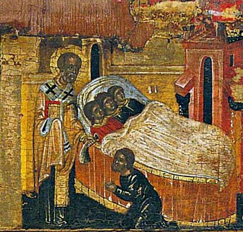 Святитель Николай спасает трех девиц от позора, тайно, ночью передавая мешочек с деньгами их отцу. Фрагмент иконы