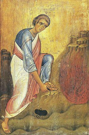 Моисей снимает обувь перед Неопалимой Купиной. Византийская икона XIII в. Синай, монастырь св. вмц. Екатерины