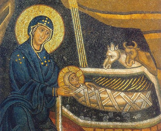 The Nativity of Christ. A mosaic at Hosios Loukas Monastery, Greece
