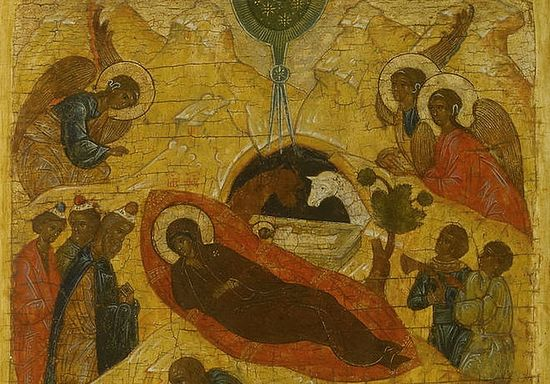 The Nativity of Christ. A fragment of a sixteenth-century icon from Novgorod