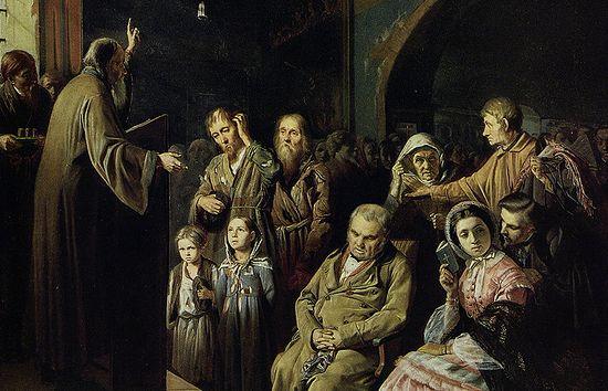 В.Г. Перов. Проповедь в селе. 1861 г.