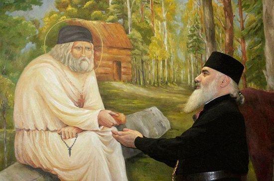 Митрополит Боржомский и Бакурианский Серафим (Джоджуа) берет благословение у фрески прп. Серафима.