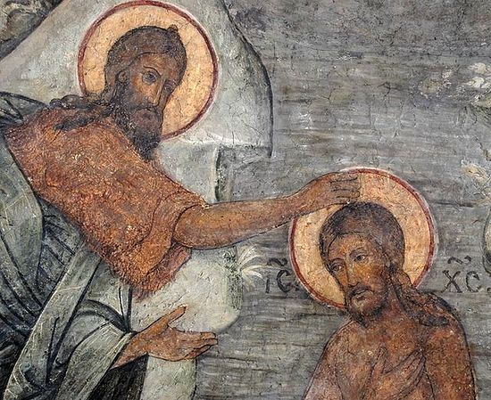 The Baptism of the Lord. Fresco in the Church of the Meeting of the Vladimir Icon of the Mother of God. Moscow Sretensky Monastery.