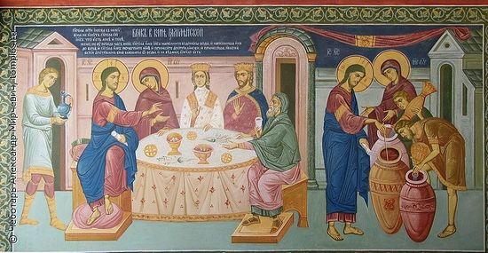 Брак в Кане Галилейской. Претворение воды в вино. Фреска Толгского монастыря