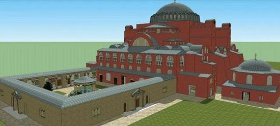 3D-реконструкция храма Святой Софии. Перед храмом виден атриум с источником воды