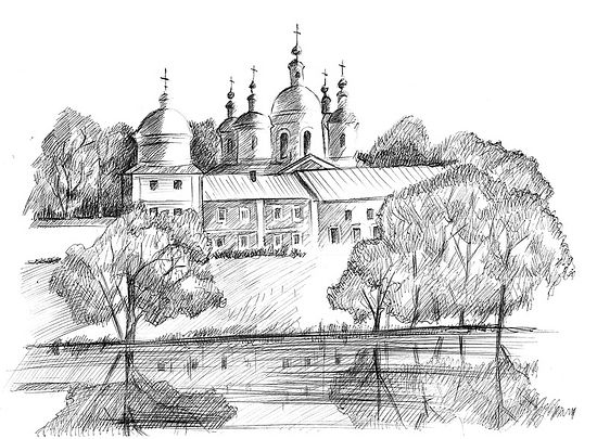 Vysha Monastery. Drawing by L. A. Voronova