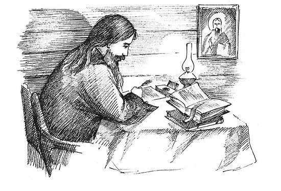 St. Theophan in his cell. Drawing by L. A. Voronova
