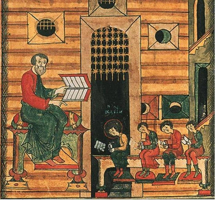 "School. Miniature from the ""Life of St. Anthony of Siya."" 17th c. Russian State Historical museum."