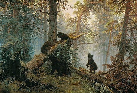 Утро в сосновом лесу. Художники: Иван Шишкин, Константин Савицкий. 1889 г.