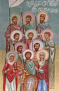 The Nine Kherkheulidze Brothers with their mother and sister