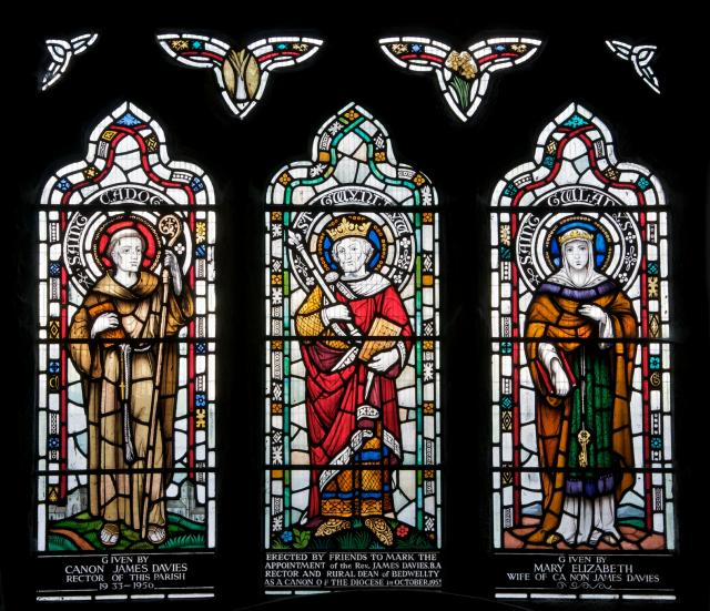 A stained glass of Sts. Gundleus, Cadoc and Gwladys