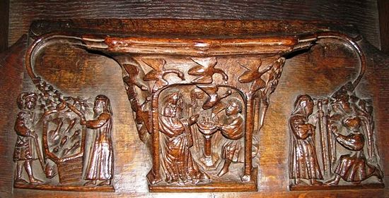 Chester Cathedral's misericord, scenes from St. Werburgh's life