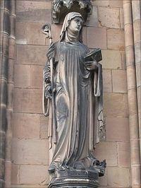 St. Werburgh's statue inside St. Chad's Church, Stafford, Staffordshire