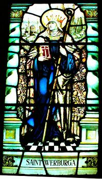 St. Werburgh, a stained glass window in Chester Cathedral