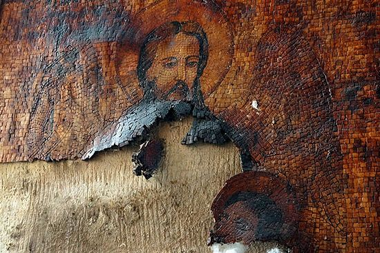 Малула. Манастир Св. Текле. Делимично изгубљени мозаик