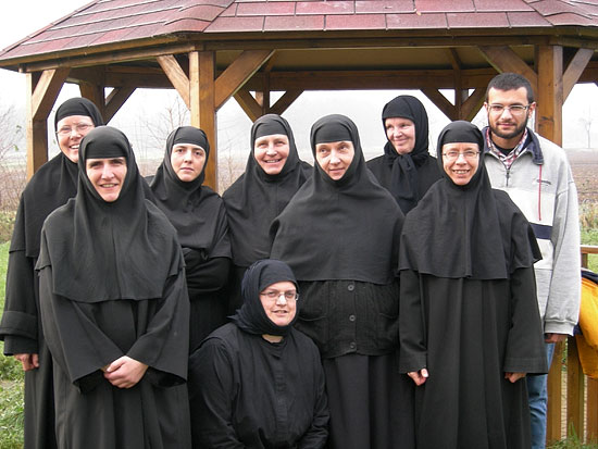 The sisters of the convent. The young man is a monastic aspirant bound for Mt. Athos