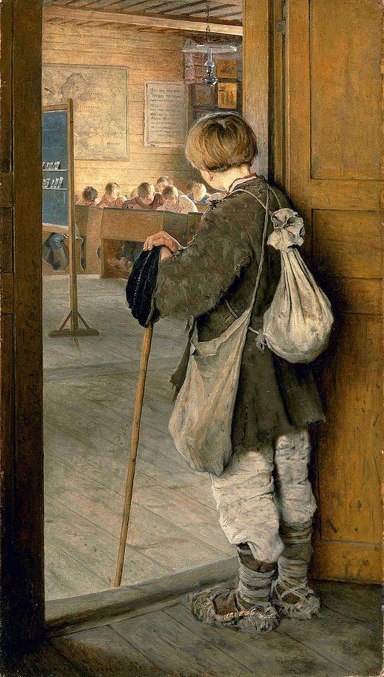 У дверей школы. Н.П. Богданов-Бельский