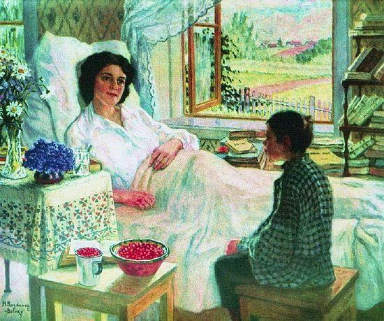 Н.П. Богданов-Бельский. У больной учительницы. 1920