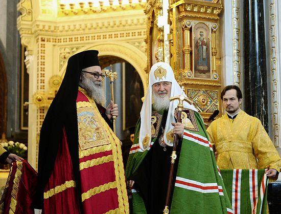 Прощеное воскресенье: Патриарх Кирилл и Патриарх Иоанн X совершили литургию в храме Христа Спасителя