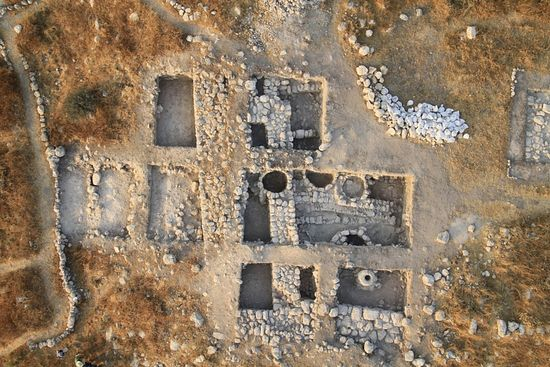 Aerial shot of the fortifications found at Tel Burna. Archaeologists believe this could be the site of Libnah, which is mentioned in the Bible(Sky View)