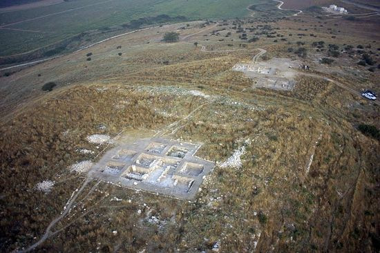 The site of Tel Burna in Shephelah, south-central Israel. Several different excavations are going on and archaeological remains are being found from many different periods(Sky View)