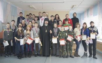Епископ Максимилиан с участниками зимней епархиальной спартакиады2014. Православная гимназия во имя святителя Иннокентия (Вениаминова)