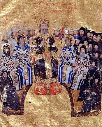 Иоанн VI Кантакузин председательствует на церковном соборе