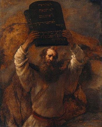 Moses breaking the tablets of the law. Rembrandt.